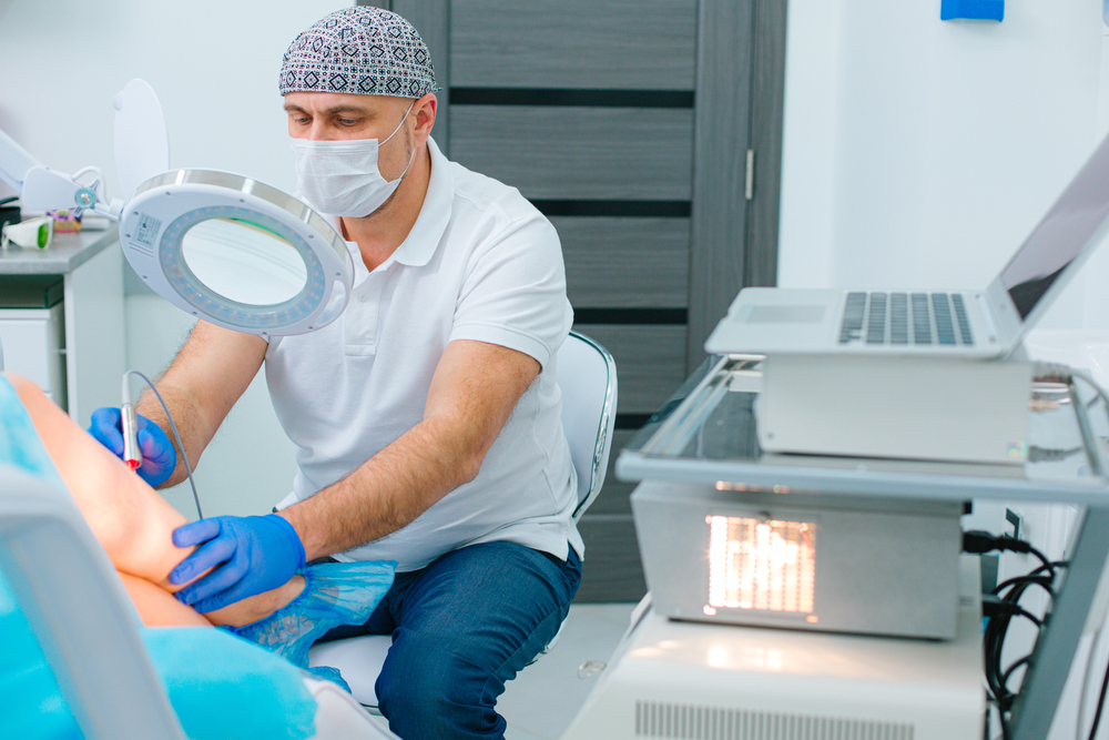 doctor undergoes vein treatment